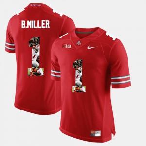 OSU #1 Men's Braxton Miller Jersey Scarlet Stitch Pictorial Fashion 527464-128