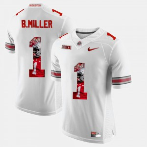 Ohio State Buckeye #1 For Men's Braxton Miller Jersey White Pictorial Fashion Embroidery 162730-700