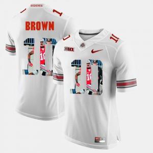 Buckeyes #10 Men CaCorey Brown Jersey White Alumni Pictorial Fashion 185449-383