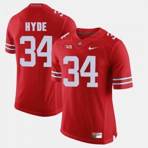 OSU Buckeyes #34 For Men CameCarlos Hyde Jersey Scarlet Alumni Football Game University 840921-357