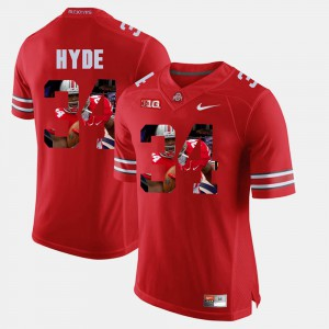 Ohio State #34 For Men's CameCarlos Hyde Jersey Scarlet Pictorial Fashion NCAA 188221-870