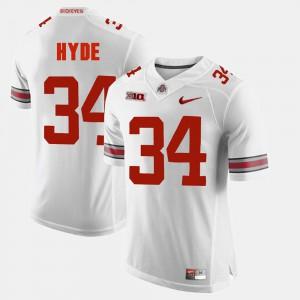 Buckeye #34 Men's CameCarlos Hyde Jersey White Alumni Football Game Embroidery 218908-937