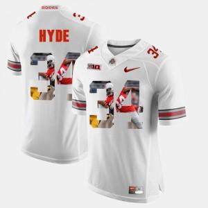 OSU #34 Mens CameCarlos Hyde Jersey White High School Pictorial Fashion 559420-640