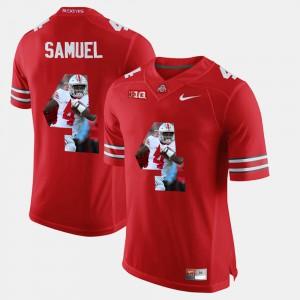 Buckeye #4 Men Curtis Samuel Jersey Scarlet Official Pictorial Fashion 325757-126
