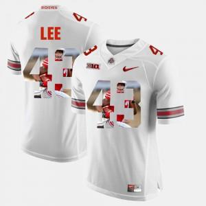 OSU #43 Men's Darron Lee Jersey White NCAA Pictorial Fashion 272322-620