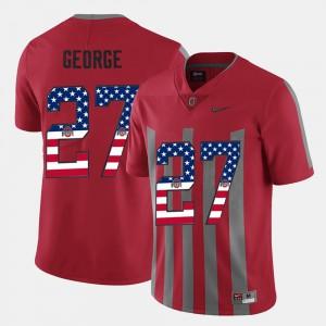 Ohio State #27 Men Eddie George Jersey Scarlet Player US Flag Fashion 564193-786