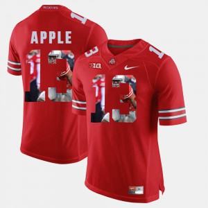 Ohio State #13 Men Eli Apple Jersey Scarlet Pictorial Fashion Official 665948-801