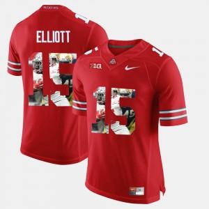 Ohio State Buckeyes #15 For Men Ezekiel Elliott Jersey Scarlet Official Pictorial Fashion 179827-821