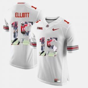 Buckeye #15 Men Ezekiel Elliott Jersey White Pictorial Fashion NCAA 217961-565