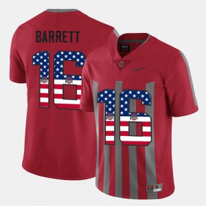 Ohio State #16 For Men's J.T. Barrett Jersey Scarlet College US Flag Fashion 385263-157