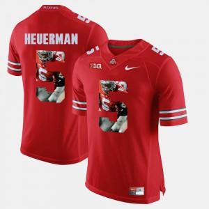Ohio State #5 Men's Jeff Heuerman Jersey Scarlet Stitch Pictorial Fashion 453299-255