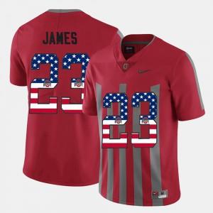 Ohio State #23 Men Lebron James Jersey Scarlet US Flag Fashion NCAA 363092-693
