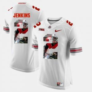 Ohio State #2 Men Malcolm Jenkins Jersey White College Pictorial Fashion 752587-506