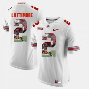 Ohio State Buckeye #2 For Men Marshon Lattimore Jersey White Embroidery Pictorial Fashion 305717-449
