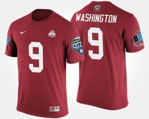 Buckeyes #92 Mens Adolphus Washington T-Shirt Scarlet Big Ten Conference Cotton Bowl Bowl Game Embroidery 603668-436