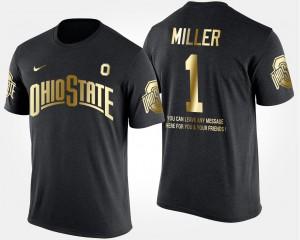 OSU #1 Men Braxton Miller T-Shirt Black High School Short Sleeve With Message Gold Limited 618679-489