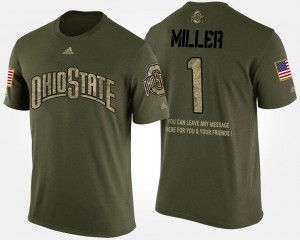 Buckeye #1 Men's Braxton Miller T-Shirt Camo Short Sleeve With Message Military Official 822622-406