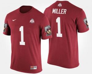 OSU Buckeyes #1 Mens Braxton Miller T-Shirt Scarlet High School Big Ten Conference Cotton Bowl Bowl Game 536962-325