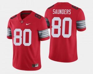OSU #80 Men C.J. Saunders Jersey Scarlet 2018 Spring Game Limited Stitch 205334-614