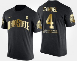 Ohio State Buckeyes #4 For Men Curtis Samuel T-Shirt Black Short Sleeve With Message Gold Limited High School 465723-276