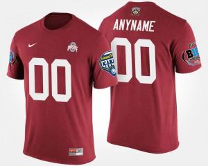 Buckeye #00 Mens Custom T-Shirt Scarlet Player Bowl Game Big Ten Conference Cotton Bowl 392351-915