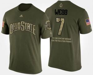 Buckeye #7 Men's Damon Webb T-Shirt Camo High School Short Sleeve With Message Military 803577-484