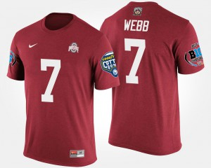 OSU #7 For Men's Damon Webb T-Shirt Scarlet Big Ten Conference Cotton Bowl Bowl Game Embroidery 333557-672