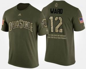 Buckeye #12 Mens Denzel Ward T-Shirt Camo Player Military Short Sleeve With Message 152381-517