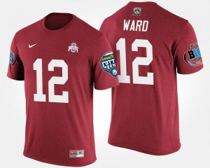 Ohio State Buckeye #12 Men Denzel Ward T-Shirt Scarlet Big Ten Conference Cotton Bowl Bowl Game Embroidery 264349-849