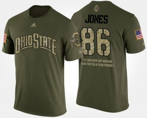 Ohio State Buckeye #86 For Men Dre'Mont Jones T-Shirt Camo Short Sleeve With Message Military NCAA 377438-554
