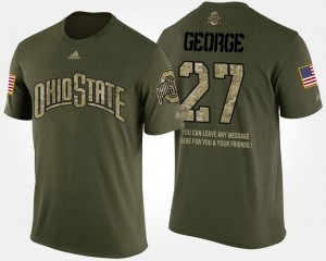 Buckeyes #27 Mens Eddie George T-Shirt Camo Short Sleeve With Message Military NCAA 994224-317