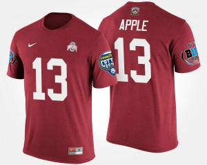 Buckeyes #13 Mens Eli Apple T-Shirt Scarlet Alumni Bowl Game Big Ten Conference Cotton Bowl 705152-477