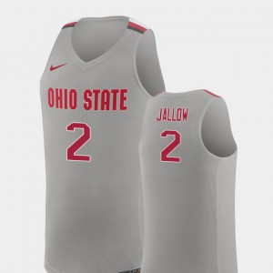 Ohio State #2 Mens Musa Jallow Jersey Pure Gray High School College Basketball Replica 377743-344