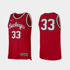 Buckeye #33 For Men Jersey Scarlet Stitched College Basketball Retro Performance 611707-948