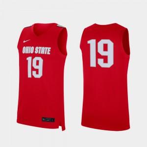 Buckeye #19 Men's Jersey Scarlet Official College Basketball Replica 455377-447