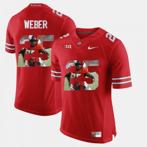 Ohio State Buckeyes #25 Mens Mike Weber Jersey Scarlet Pictorial Fashion University 372110-386