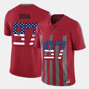 Ohio State #97 Mens Nick Bosa Jersey Scarlet Stitch US Flag Fashion 841338-795