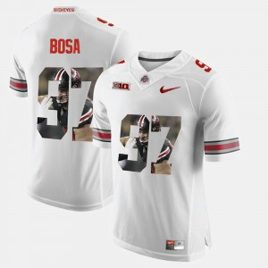 Ohio State #97 Mens Nick Bosa Jersey White Player Pictorial Fashion 372075-665
