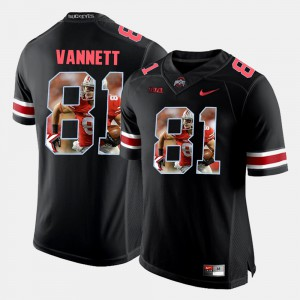 Ohio State Buckeye #81 Men's Nick Vannett Jersey Black Embroidery Pictorial Fashion 535611-136