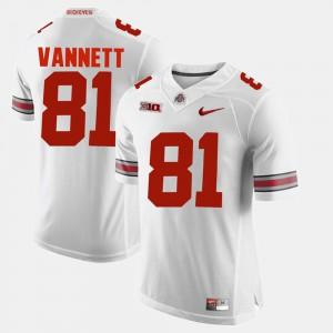 Buckeyes #81 Men's Nick Vannett Jersey White Alumni Football Game Player 991430-263