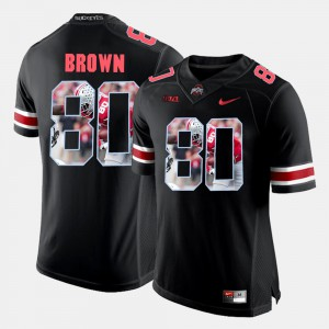 Ohio State Buckeye #80 Men Noah Brown Jersey Black Pictorial Fashion Stitch 754137-131