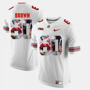 Ohio State Buckeye #80 Men Noah Brown Jersey White Pictorial Fashion NCAA 608490-491