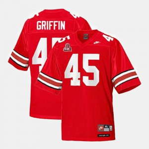 Ohio State Buckeye #45 For Men's Archie Griffin Jersey Red College Football High School 737699-940