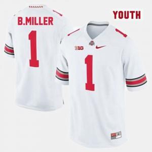 Buckeye #1 For Kids Braxton Miller Jersey White NCAA College Football 911084-768
