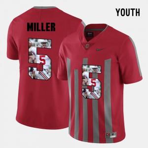 Buckeyes #5 Youth(Kids) Braxton Miller Jersey Red Pictorial Fashion Stitch 483562-432