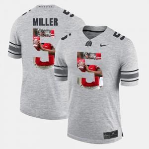 OSU #5 For Men's Braxton Miller Jersey Gray College Pictorital Gridiron Fashion Pictorial Gridiron Fashion 776009-276