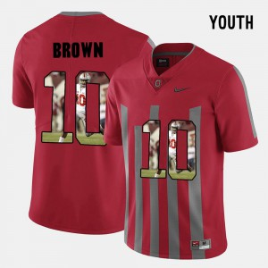 Ohio State Buckeyes #10 Youth(Kids) CaCorey Brown Jersey Red Alumni Pictorial Fashion 180039-839