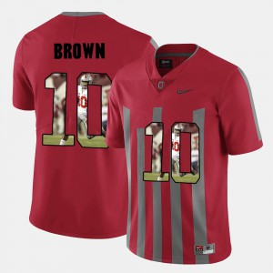 Ohio State Buckeye #10 Mens CaCorey Brown Jersey Red Pictorial Fashion Stitched 589314-624