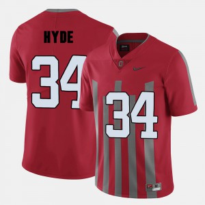 Ohio State #34 For Men CameCarlos Hyde Jersey Red Player College Football 747618-289