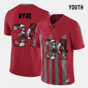 Ohio State #34 Kids CameCarlos Hyde Jersey Red Official Pictorial Fashion 795767-759